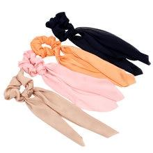 Однотонные резинки для волос с бантом модные лентой девушек