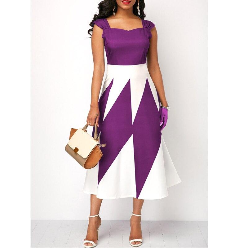 New fashion European and American women's slim party high waist geometric