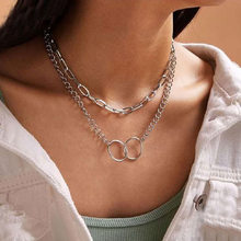 New Bohemian Fashion Jewelry with Simple Alloy Double Ring Pendant Multilayer Necklace for Women Birthday Gifts Wholesale