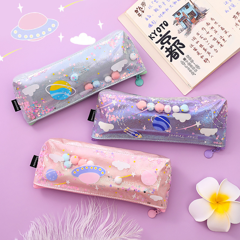 Cute Glitter Liquid Space Universe Star Pencil Bag & Case For Kids Stationery Gift Storage Bags Pvc Transparent School Supply