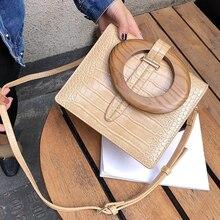 fashion alligator wooden handle women handbgs designer crocodile shoulder crossbody bags luxury pu leather small flap lady purse