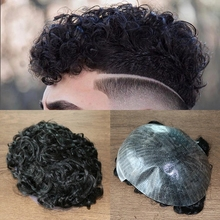 20MM Curly Full Machine Made Injected Technical Men's Wig Thin Skin Base Human Hair Toupee