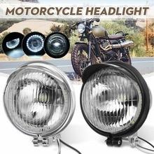 "5 ""Universele 12V Motorcycle Abs Retro Mistlampen Koplamp Lamp Led Werken Spot Light Head Lamp Wit Koplamp"