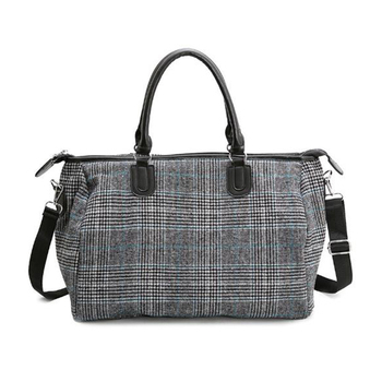 Short-distance Travel Bag Female Handbag Wool Large Capacity Waterproof Men Diagonal Fitness Bag Black Plaid Pattern Duffel Bag