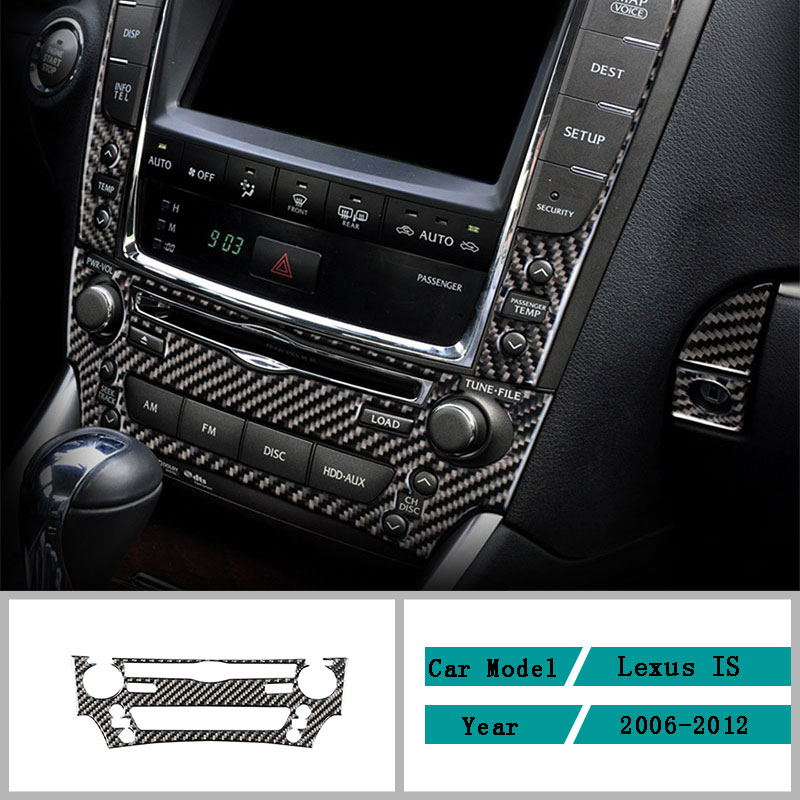 Carbon Fiber Car Accessories Interior CD Panel Decoration Protective Modification Cover Trim Stickers For Lexus IS 2006-2012