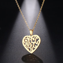 Gold/ Silver Color Hollow Love Heart Pattern Stainless Steel Charm Pendant Necklace Mom Daughter Women Family Christmas Gift Hot(China)