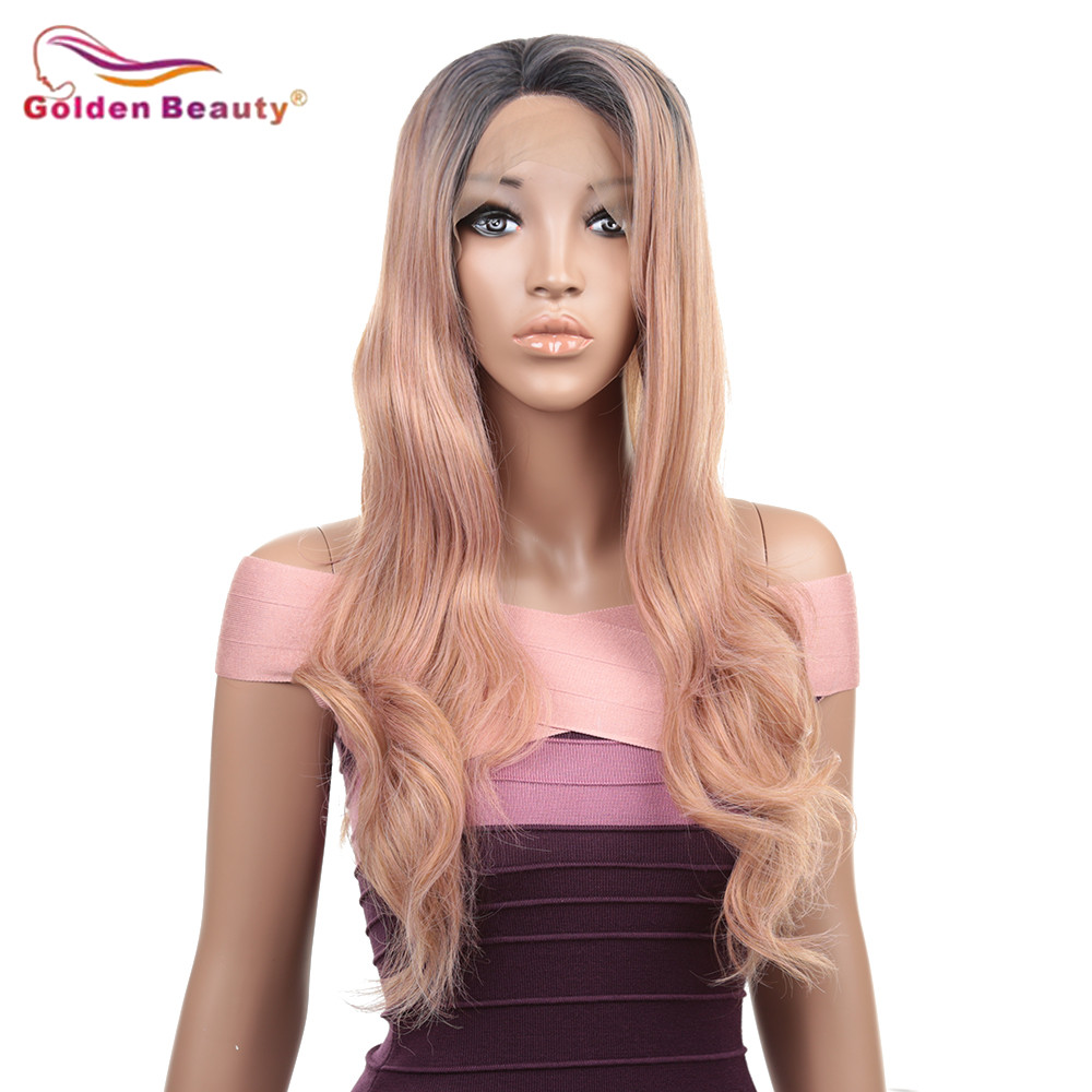 Lace Front Wigs For Women Body Wave Ombre Synthetic Wig Medium Length Wigs With Side Deep Parting Golden Beauty