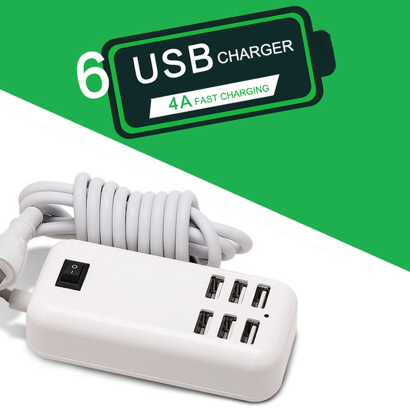 <font><b>20W</b></font> <font><b>USB</b></font> <font><b>Power</b></font> <font><b>Adapter</b></font> Phone 6-Port <font><b>USB</b></font> Charging Station For Xiaomi For Iphone Fast Charge <font><b>USB</b></font> Charging Socket 1.5M Cable EU Plug image