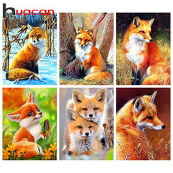 Huacan Full Square Diamond Painting Fox 5D DIY Diamond Embroidery Mosaic Animal Decorations Home New Arrival
