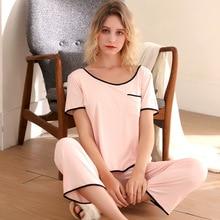 Pijamas rosa verão modal nuisette feminino pijamas de duas peças conjunto grande tamanho calças de manga curta roupa de casa nuisette nightwear