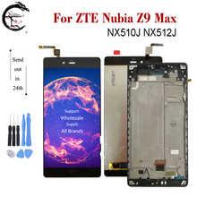 """5.5 """"LCD ile çerçeve için çerçeve ile ZTE Nubia Z9 Max NX510J NX512J LCD ekran ekran dokunmatik sensör sayısallaştırıcı meclisi Z9Max tam ekran yeni"""