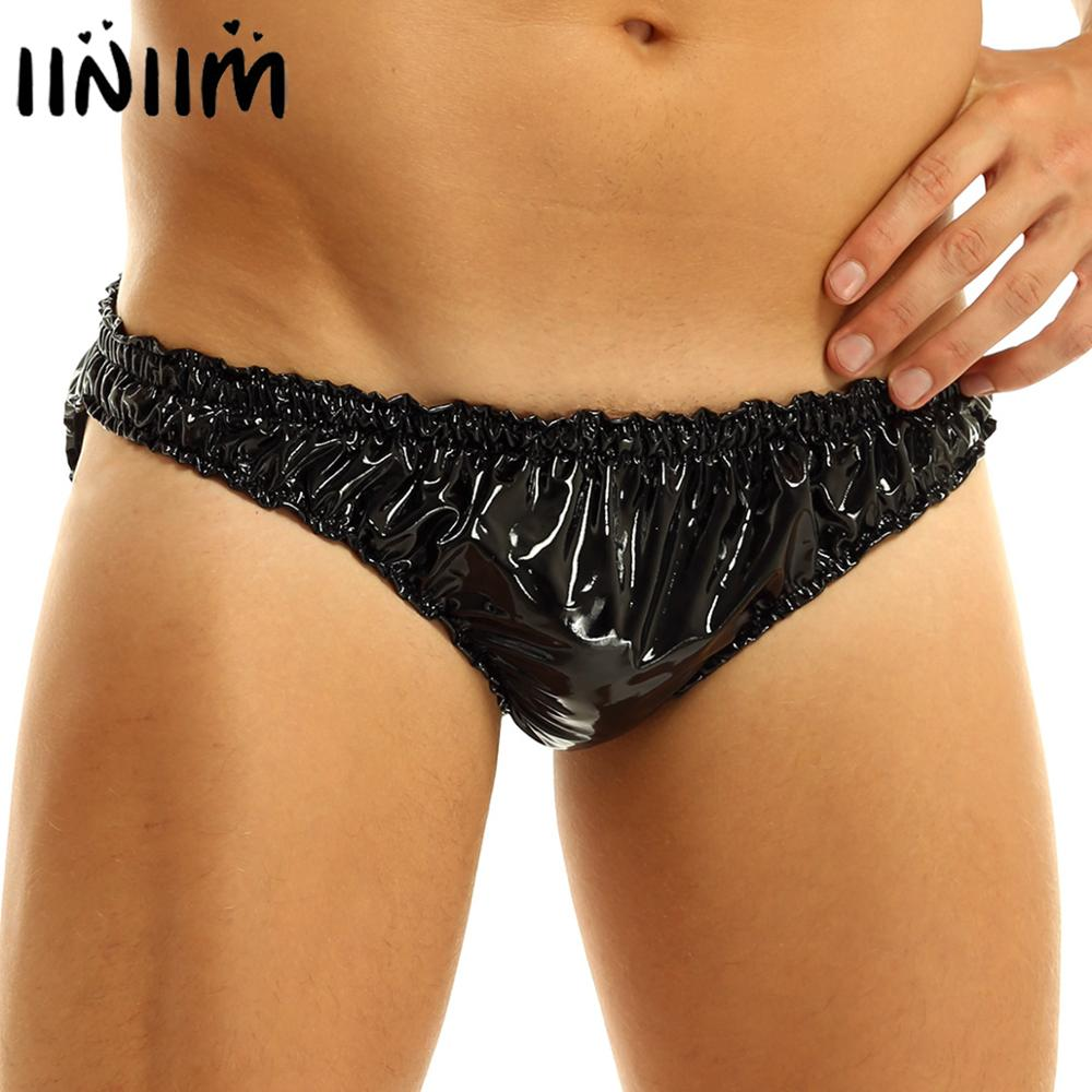 Mens Wet Look Gay Underwear Patent Leather Lingerie Frilly Ruffled Low Rise High Cut Sissy Briefs Underwear Jockstraps Panties