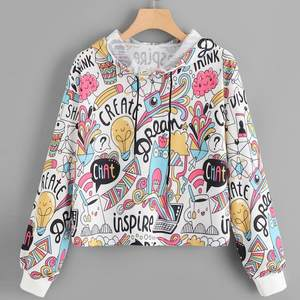 Women Long Sleeve Graffiti Print Drawstring Hoodie Tops Cute Fashion Girls Pullovers s New Style Hoodies