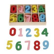 60 pçs colorido mini madeira 0-9 árabe número enfeite com bandeja de armazenamento de madeira para crianças brinquedos educativos jogos para artesanato diy