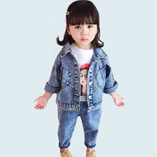 Baby Clothes Girls Denim Jacket + Jeans 2 Pcs Suit For Infant Girls Long Sleeve Girls Outfits Autumn Casual Denim Suit For Girls cheap Hibisyn Turn-down Collar Sets Single Breasted Y483966 COTTON Polyester Full REGULAR Fits true to size take your normal size
