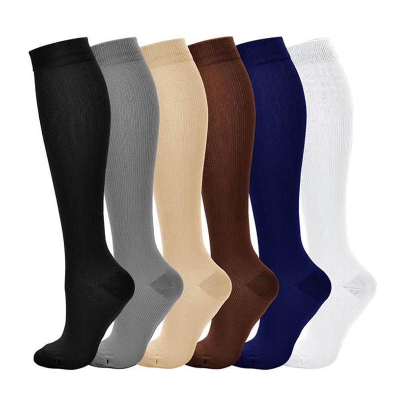Calcetines de compresión para aliviar el dolor de venas varicosas, Unisex, largos, de nailon, de Color sólido