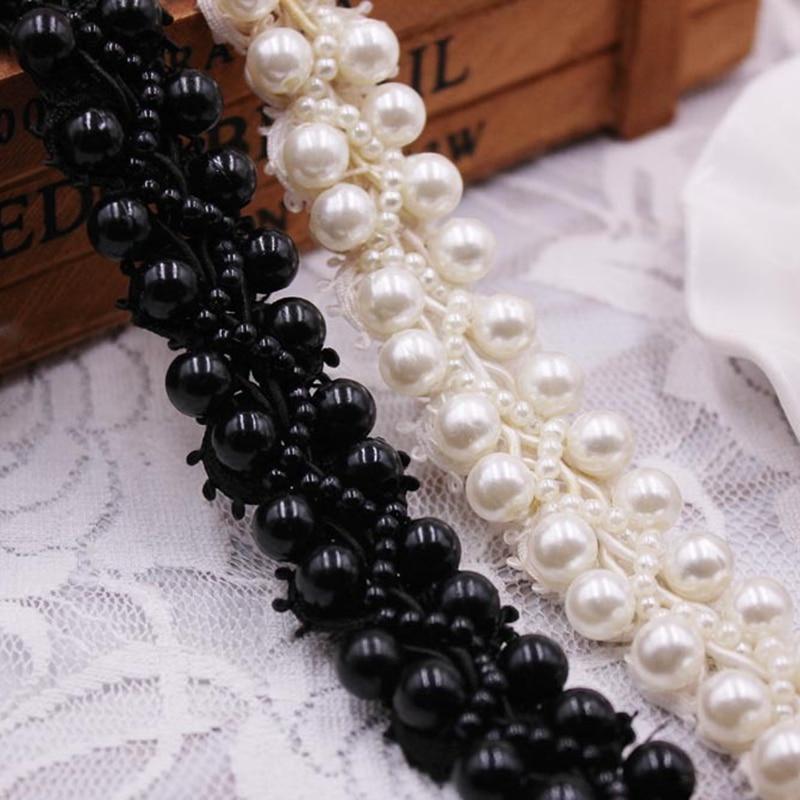 1 metre/Lot beyaz siyah İnci boncuklu dantel kumaş işlemeli dantel şerit Trim el yapımı boncuklu saçak DIY dikiş malzemeleri malzeme