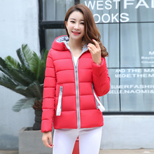 2019 Womens Parkas Jacket Winter Casual Warm Thicken Hooded Jackets Solid zipper Cotton padded outwear coat