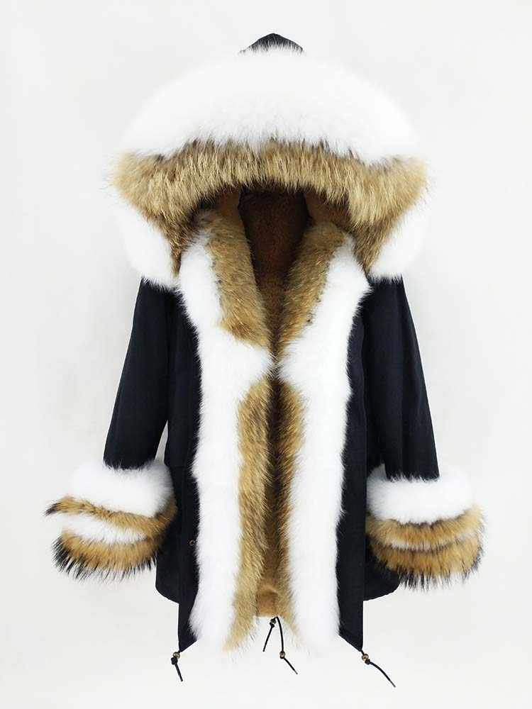2019 Winter Jacke Frauen Natürliche Waschbär Pelz Fuchs Pelz Kragen Kapuze Manschetten Dicke Warme Oberbekleidung Neue Lange Parka Echtpelz mantel