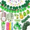 Decoración de fiesta hawaiana, Luau, flamenco, Aloha, vajilla desechable, globos de látex de hojas de palma para fiesta de verano, diseño Tropical Hawái