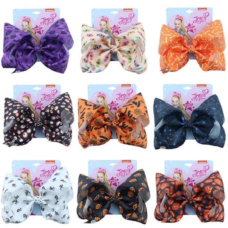Hair-Bow Ribbon Jojo-Bows Jumbo Knot Handmade Party Halloween Girl Large Kids For 8-