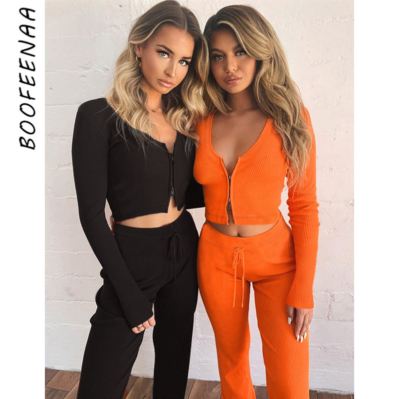 BOOFEENAA Sexy Two Piece Set Orange Knit Long Sleeve Crop Top And Split Sweat Pants Tracksuit Women Matching Sets C66-AF97