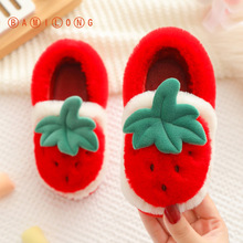 Slippers Winter Shoes Antiskid Matching Plush Strawberry BAMILONG Warm Baby-Girls S505