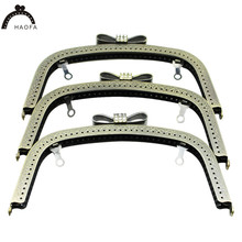 HAOFA 18cm Diamond Decoration Buckle Head Metal Purse Frame Clasp Vintage Bronze Bag Accessories  3pcs/lot Factory Direct Sale