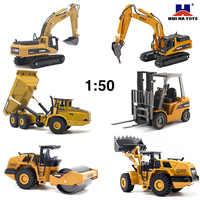 HUINA-excavadora de volteo 1:50 para niños, modelo de Metal fundido a presión, vehículo de construcción, juguetes para niños, regalo de Navidad y cumpleaños