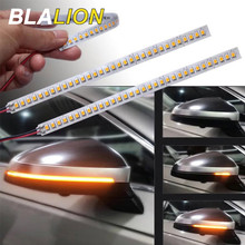 2Pcs ไฟเลี้ยวคำเตือน Strip Universal รถกระจกมองหลังตัวบ่งชี้โคมไฟลำแสง Strip Auto Flowing LED Light