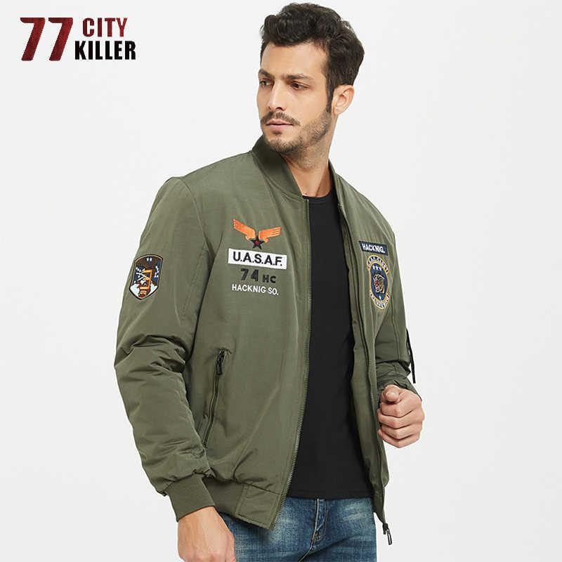 77City Killer MA-1 폭격기 재킷 남성 캐주얼 자수 슬림 피트 두꺼운 따뜻한 남성 야구 재킷 남성 겨울 군사 의류