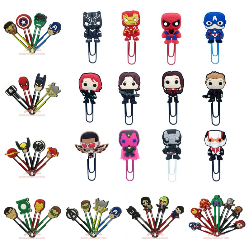 4-12pcs Avengers Super Hero PVC Bookmarks For Books Paper Clips For School Teacher Students Office Supply Page Holder Kids Gift