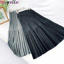 Black Pleated Skirt Women 2019 Autumn Winter Basic Midi Office Wear Retro Higyh Waist A-line Long Skirts