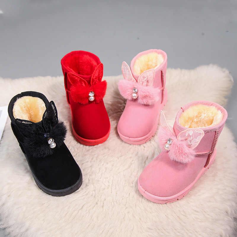 Meisjes snowboots winter kinderen laarzen warm medium laarzen zachte zolen voor kinderen en meisjes met fluwelen parel korte laarzen