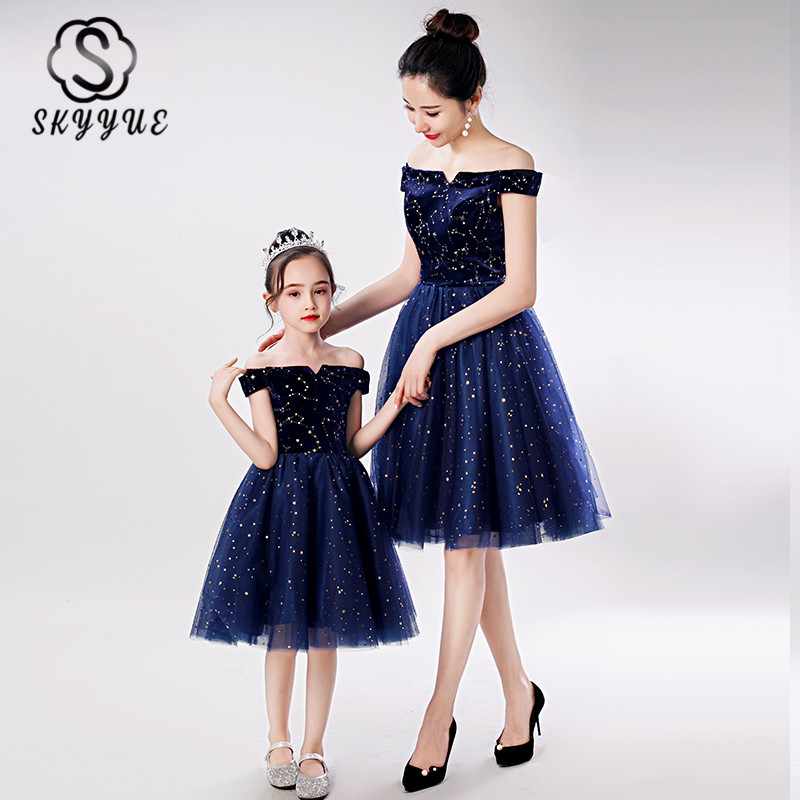 Skyyue Navy Blue A-Line Prom Dress For Mom And Daughter FB113 Shining Sequin Formal Party Gown Boat Neck Parent Child Dresses