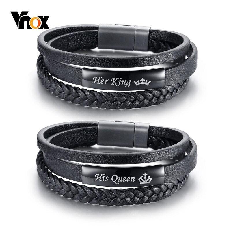 Vnox sa reine et son roi Couple Bracelets noir tressé en cuir véritable promesse amour pulseira cadeaux