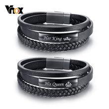 Vnox – Bracelets en cuir véritable tressé noir, pour Couple, sa reine et son roi, promesse d'amour, cadeaux
