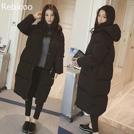 Женское пальто выше колена, длинное плотное пальто с капюшоном, хлопковое пальто, Женская Студенческая куртка, зимняя куртка, женское плотн...