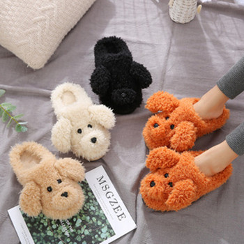 2019 New Autumn Winter Women Slippers cute cartoon puppy teddy wool cotton Home Soft anti-slip Fur Indoor Floor women Men Shoes 2