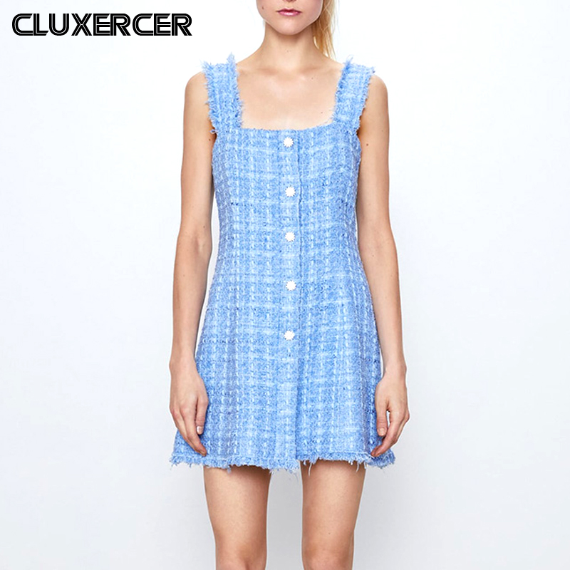 2020 Spring Summer <font><b>Sexy</b></font> Sleeveless <font><b>Backless</b></font> Mini <font><b>Dress</b></font> Women Vintage Diamond Plaid Tweed A-Line Party <font><b>Dresses</b></font> Ladies Vestidos image