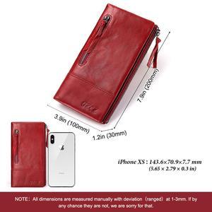 Image 2 - Ünlü marka hakiki deri kadın uzun cüzdan kadın fermuar kelepçe bozuk para cüzdanı bayan cüzdan moda cep telefonu cep para çantası