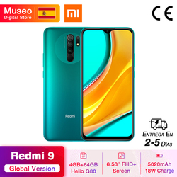 "Global Version Xiaomi Redmi 9 Mobile Phones Helio G80 4GB 64GB 6.53"" FHD+ Screen 13MP AI Quad Cams Smartphone 5020mAh"