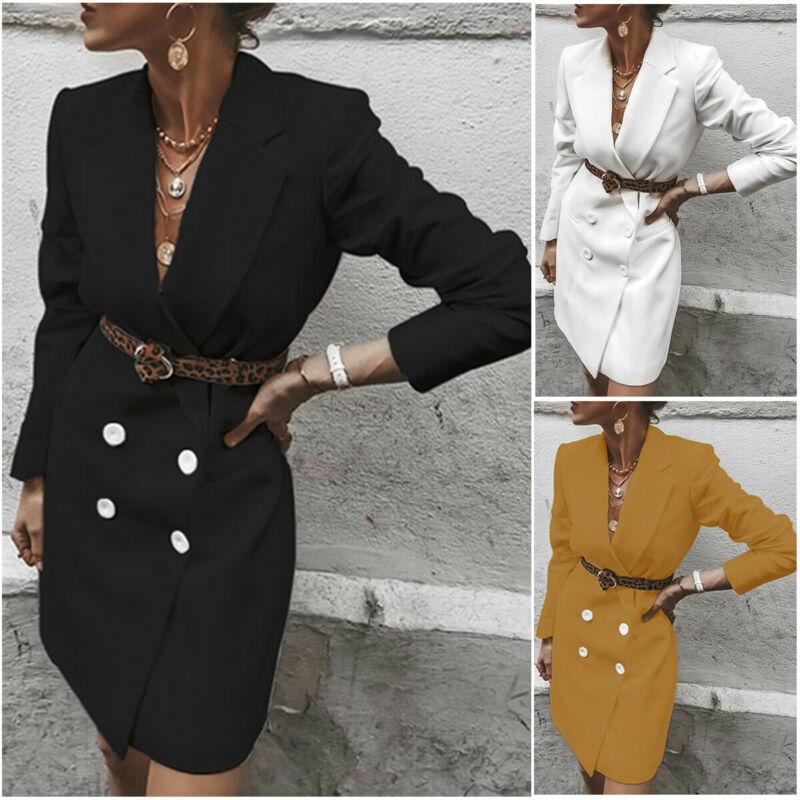 Autumn Women Blazer Dress Lady One Piece Suit Office Work Blazer Jacket Long Sleeve Casual Mini Dress Female Outfit