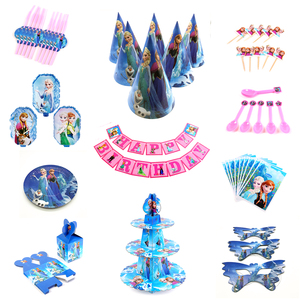 Disney Frozen Design Girls Birthday Party Decorations Gift Bag Paper Cups Plates Spoon Baby Shower Disposable Tableware Supplies(China)
