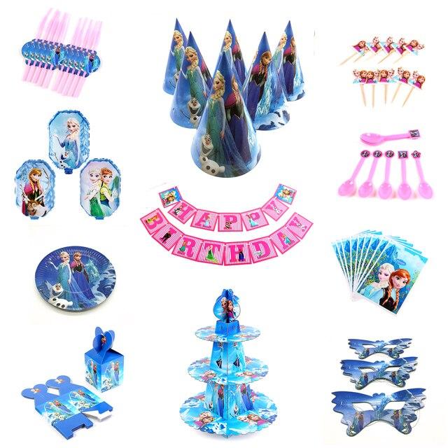 Décorations de fête danniversaire Design Disney | Congelés sac cadeau, assiettes gobelets en papier, cuillère réception-cadeaux pour bébé, fournitures de table jetables