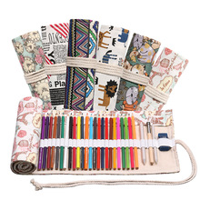 36 Holes Roll Colored Pencil Case Kawaii School Canvas Pen Bag for Girls Boys Cute Large Pencilcase Box Stationery