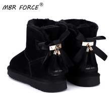 MBR FORCE Fashion Ankle bowknot snow boots women Wool fur lined Australia classic genuine leather winter flat warm shoes black