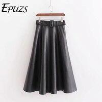 Vintage black pu leather skirts Womens High Waist pleated skirt Streetwear Casual belt Office long skirt winter faldas mujer