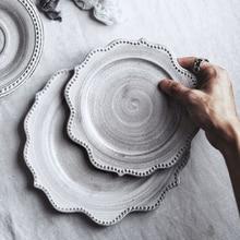 Vajilla de cerámica japonesa plato de porcelana gris plato de carne Vintage platos de cocina Bandeja de postres de desayuno