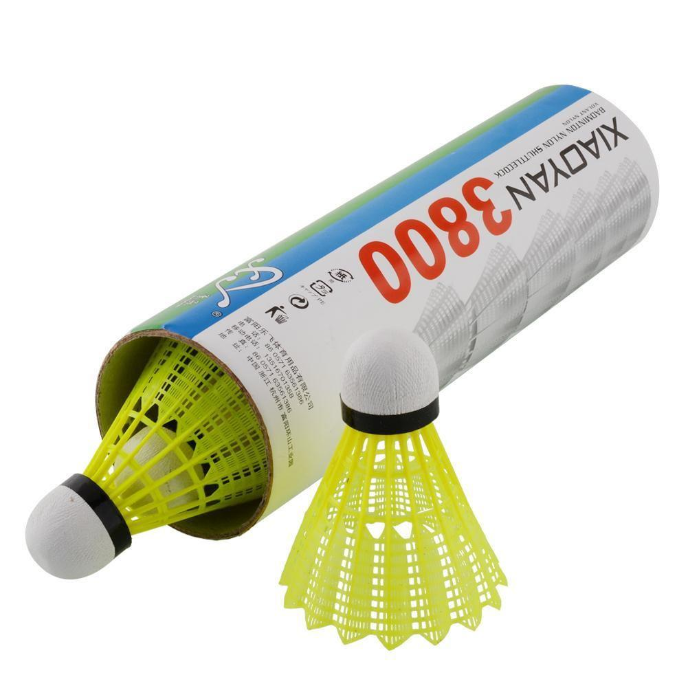 6pcs Train Yellow Nylon Shuttlecocks Badminton Ball Game Outdoor Sport Plastic